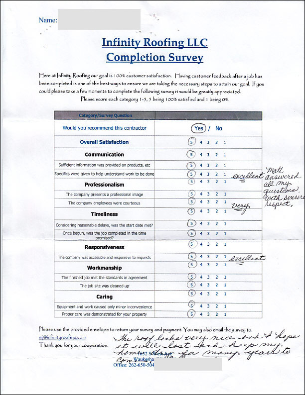 Waukesha Roofing Customer Rates Our Work As Excellent